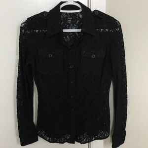 Tops - Lace button down shirt blouse